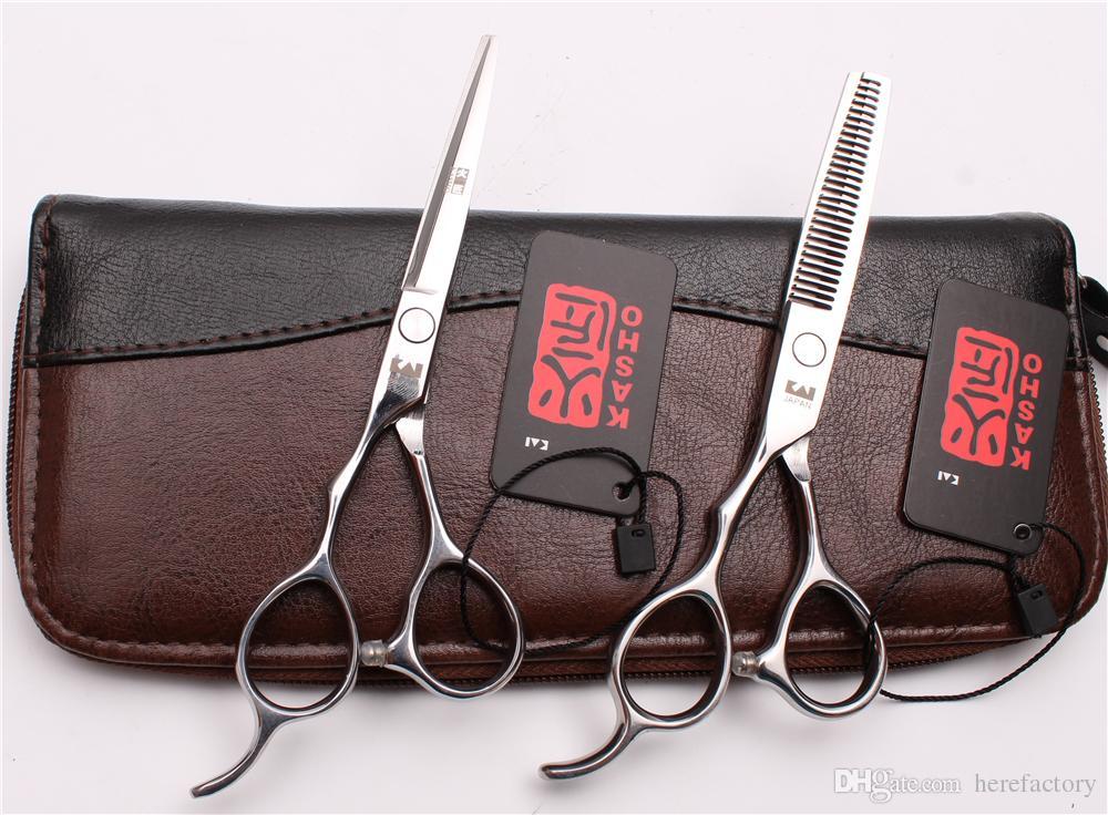"H8000 5.5"" 16cm JP 440C Kasho Silver Screw Professional Human Hair Scissors Barbers' Cutting Thinning Shears Left Hand Scissors Style Tools"