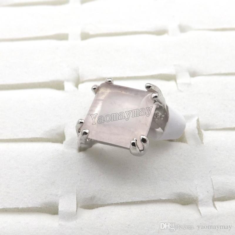 Moda rosa cristal anéis de jóias das mulheres rosa quartzo anéis atacado