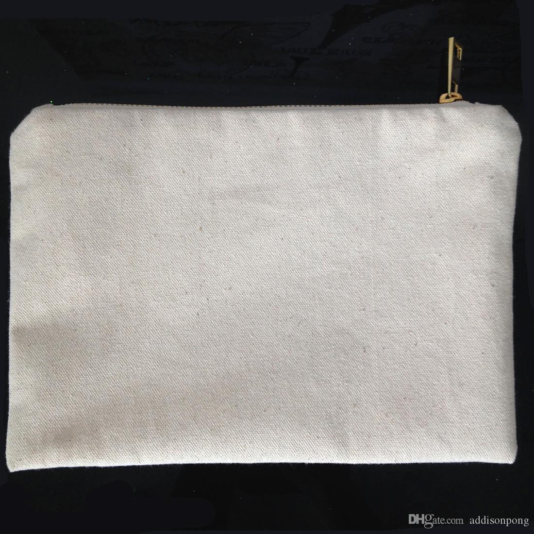 عادي القطن الطبيعي قماش حقيبة مستحضرات التجميل مع بطانة مطابقة لون الذهب البريدي 7x10in حقيبة ماكياج فارغة لالطلاء DIY / طباعة أسود / أبيض / العاج