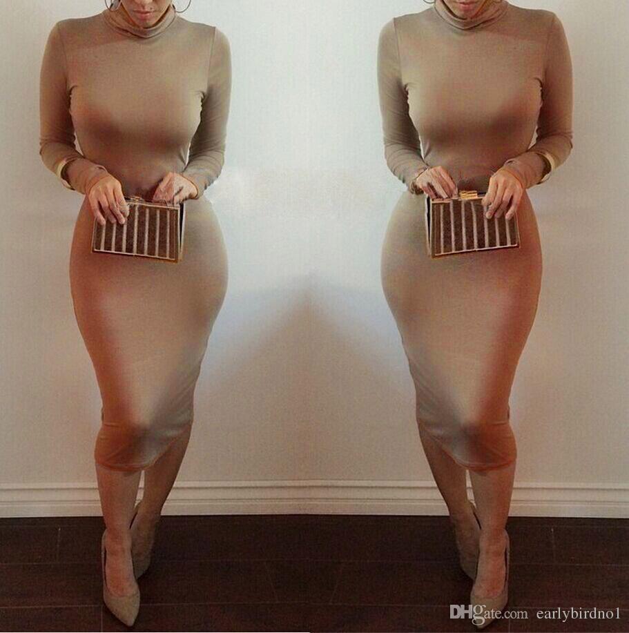 Vestidos frauen winter kim kardashian rollkragen bleistift kleider bodycon plus größe langarm sexy club herbst party bandage kleider fs0716