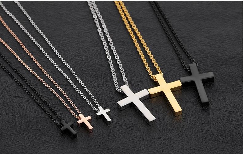 Рождественский подарок продвижение * из нержавеющей стали христианский крест подвески с цепочкой ожерелье розовое золото подвески серебряный кулон черное ожерелье