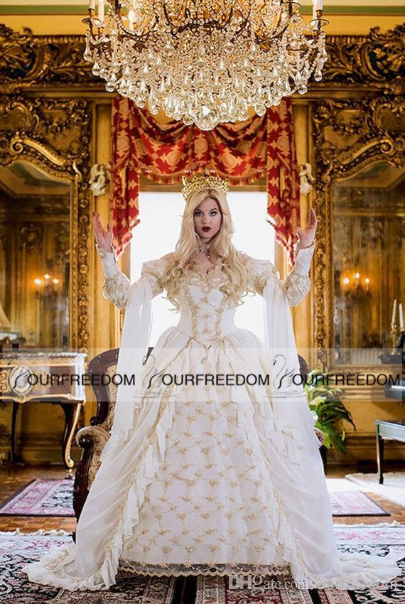 Vintage Medieval Celtic Wedding Dress 2016 Custom Made Off The Shoulder Castle Church Gold Applique New Empire Fairy Bridal Gown Hot Sale