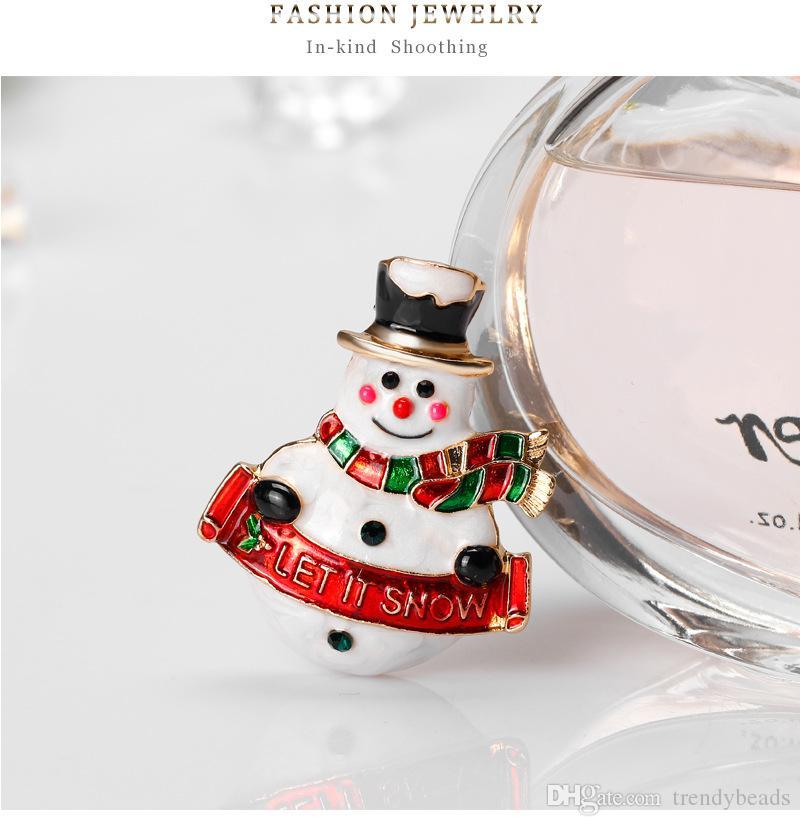 Праздничные подарки австрийский Кристалл белая эмаль Xmas Рождество снеговик брошь Pin