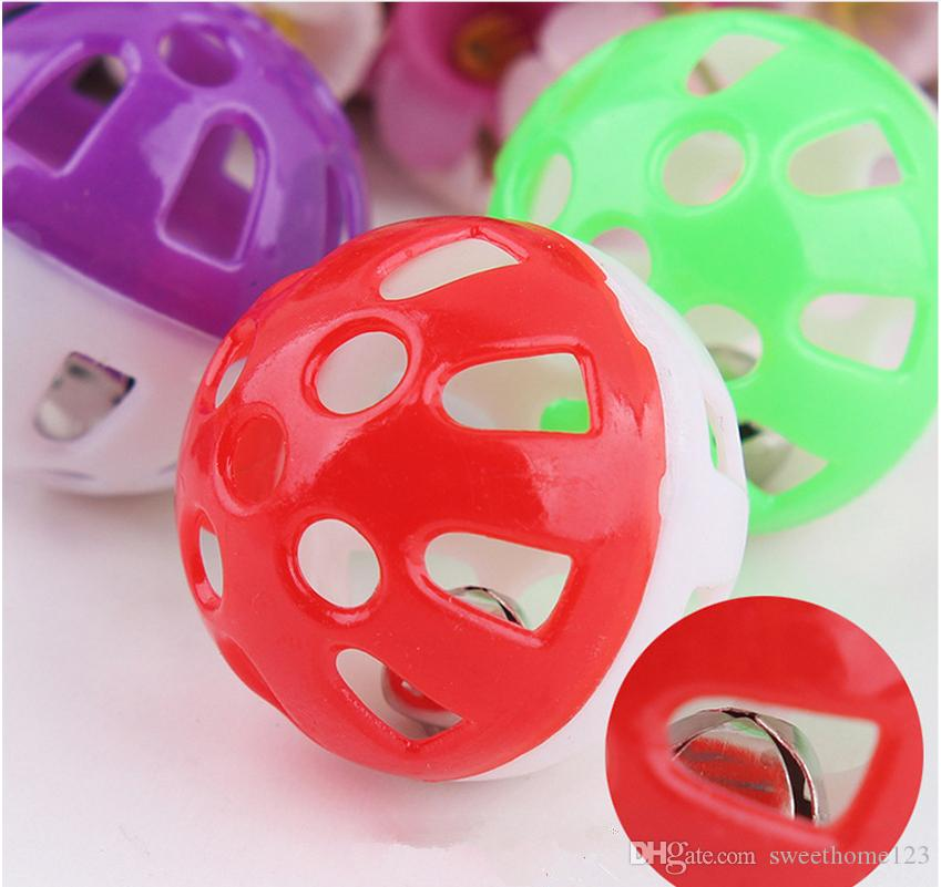 New styles Tinkle Bell Ball Pet Toy 3.5cm Plastic Dog Cat Playing Ball Funny Toys Pet Products Random Color