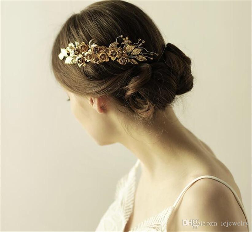 Gold Leaf Headpiece Hair Greek Wreath Wedding Bridal Flower Hair Accessories Comb Clips Jewelry Tiara Crystal Crown Headdress Pins