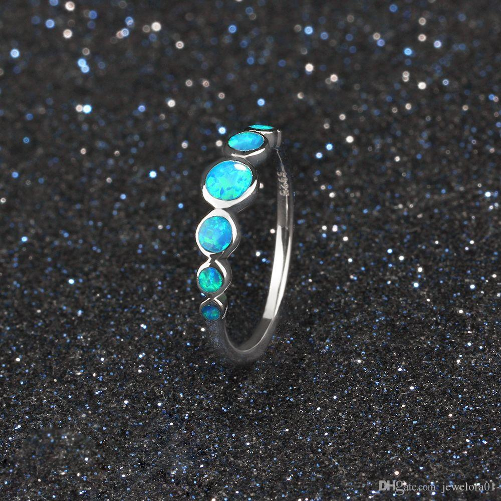 a 925 Sterling Silver Blue Opal Rings Fashion Bridal Jewelry Wedding Bands Promise Rings For Women