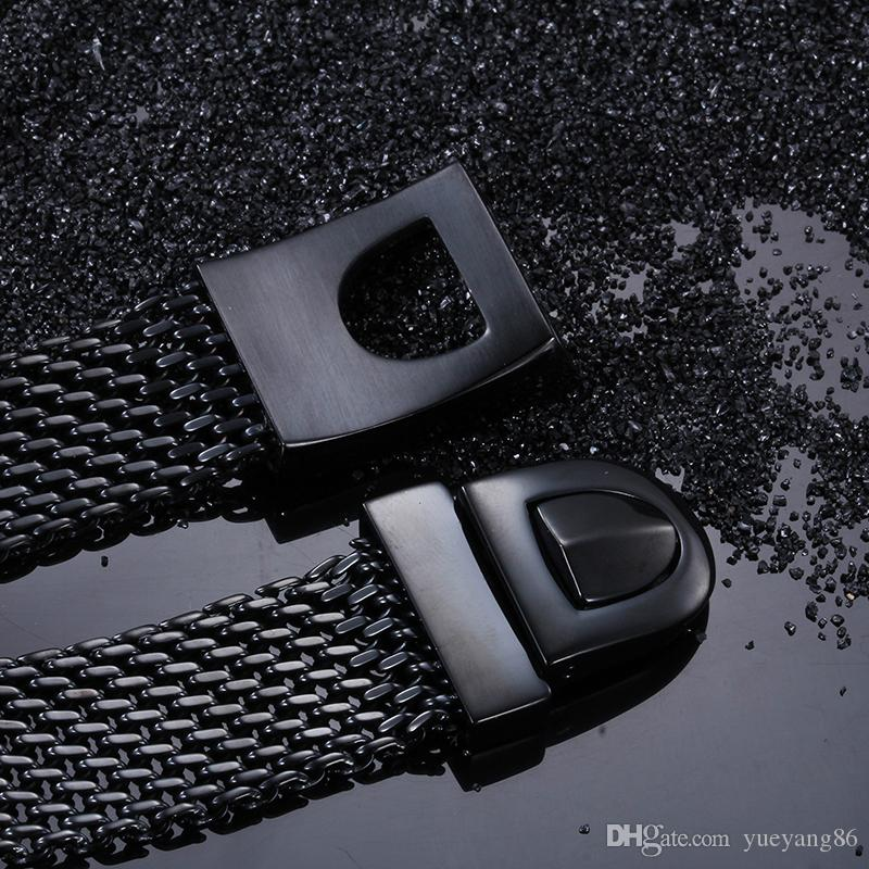 아버지를위한 최고의 선물 블랙 바이커 벨트 디자인 팔찌 고품질 316L 스테인레스 스틸 남성 체인 팔찌 8.66