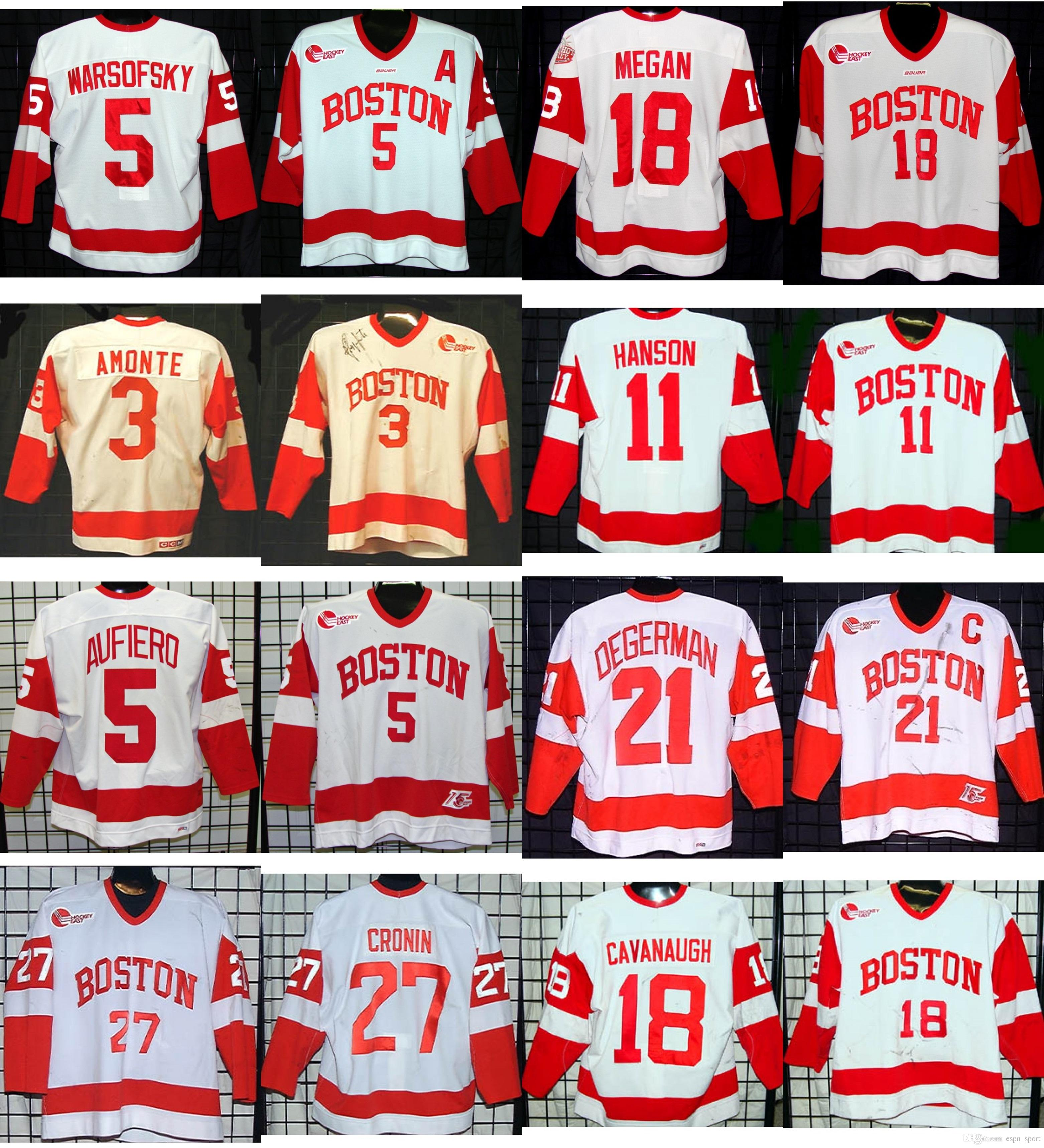 NCAA Boston Terriers Mens 3 Tony Amote 27 John Cronin 11 Hanson 5 Patrick  Aufiero 18 Cavanaugh 21 Tommi Degerman Hockey Cheap Jerseys 5 David  Warsofsky ... 7b3eb2356c50