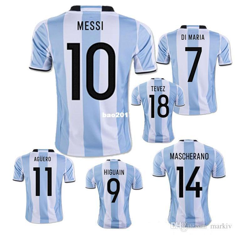 fc4be017f 2018 Free Ship Wholesale New Argentina World Cup Soccer Jersey 17 18 Messi  Home Di Maria Aguero Thai Quality Argentina Football Shirts 2017 From  Bao2017