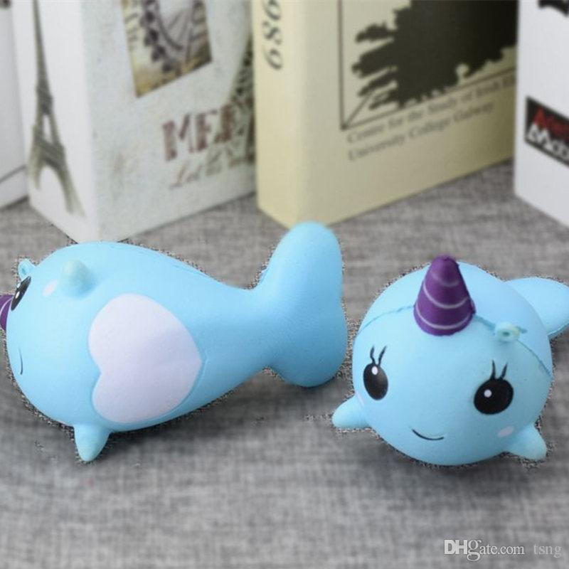 unicorn dolphin mobile phone trailer PU Jumbo Squishy Slow Rising Pendant Phone Straps Charms Queeze Kid Toys Cute squishies Bread