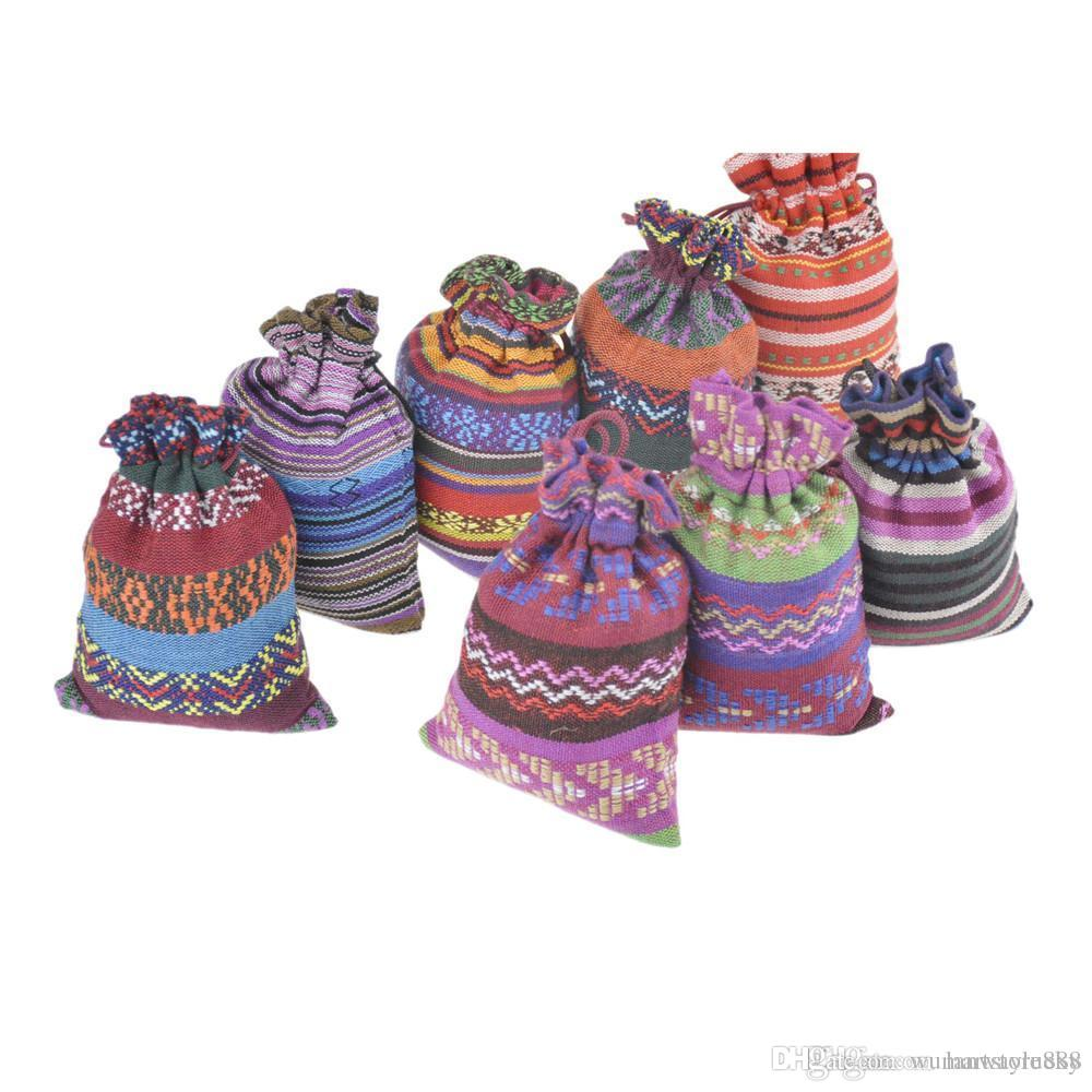 Small Drawstring Jewelry Bags Cotton Gift package Pouches Multicolor Handmade Ethnic Tribal Tribe style 3.9''x5.5