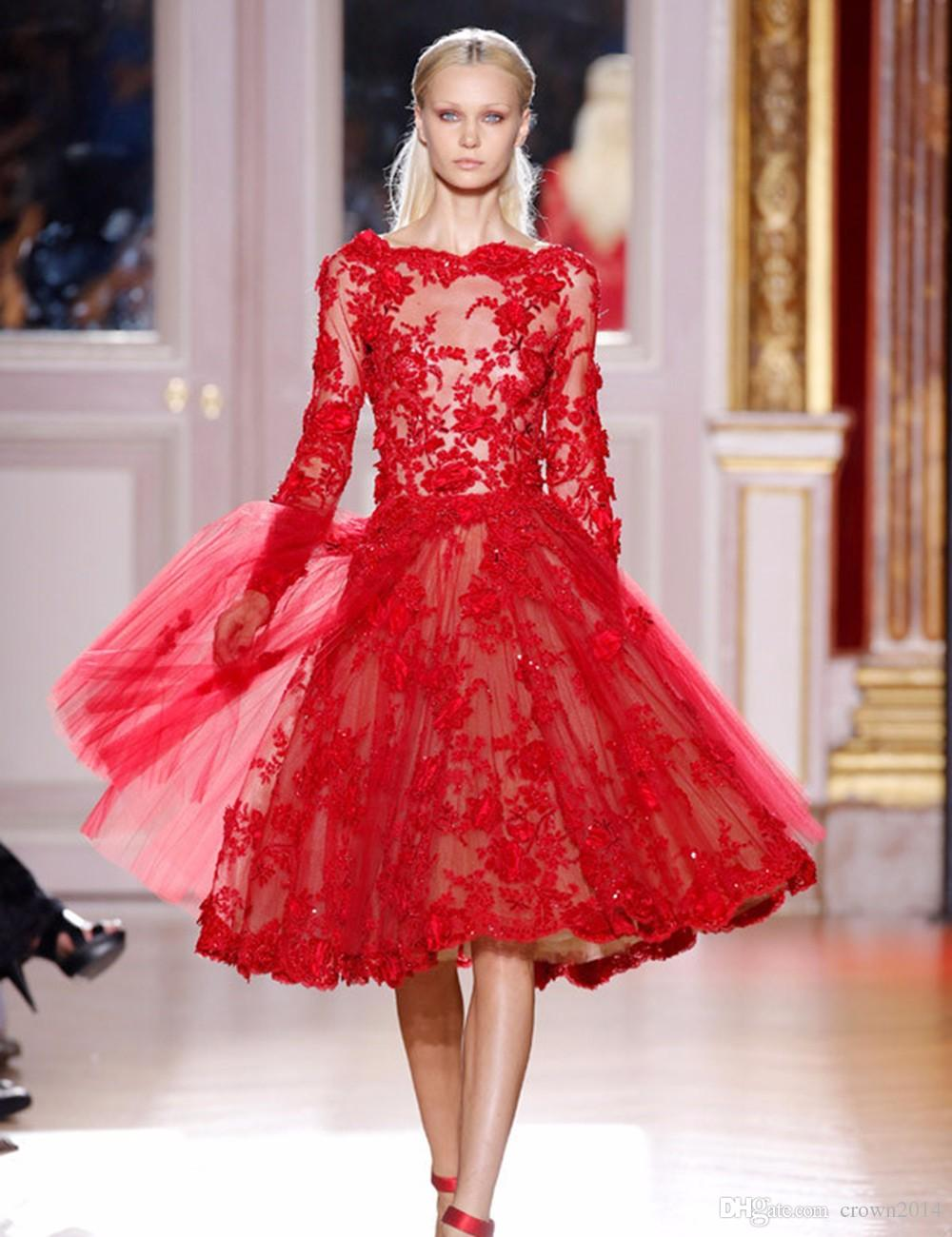 Zuhair Murad Red Lace Prom Dress Knee Length A-Line Boat Neck Appliques Beaded Illusion Long Sleeves Evening Party Dress Cheap Made In China
