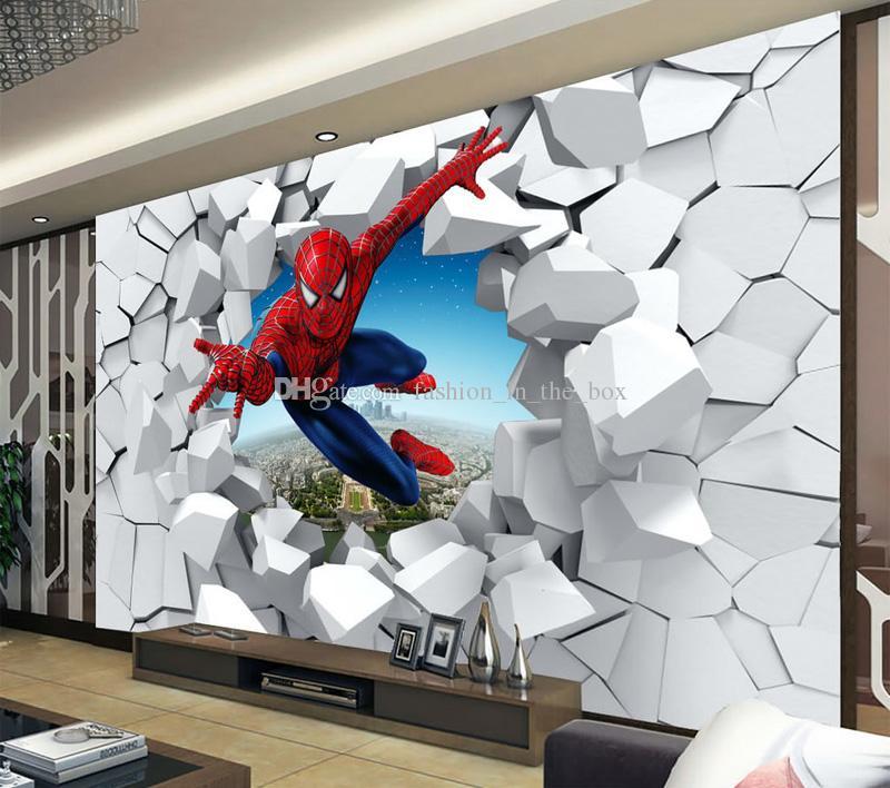 Spiderman wallpaper Custom 3D Photo wallpaper for walls Super hero Wall mural Boys Bedroom Living room Nursery School Designer Room decor