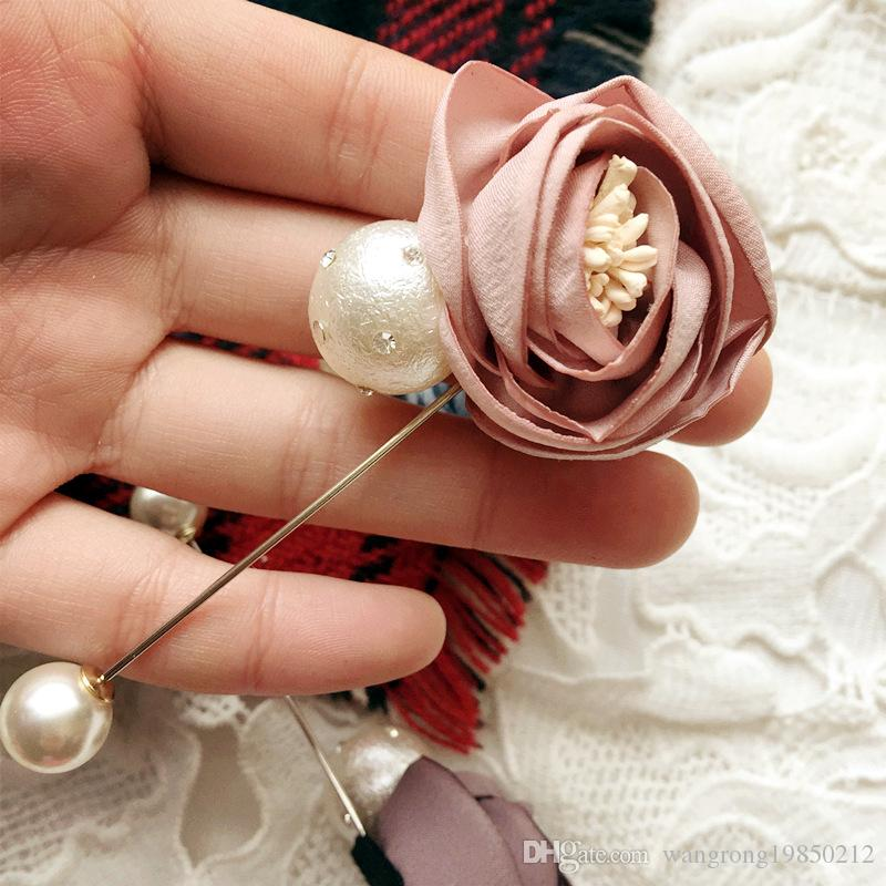 Delicate and fashionable OL rose pearl cloth fabric pectoral flower brooch have 2 styles please note you want styles and colors