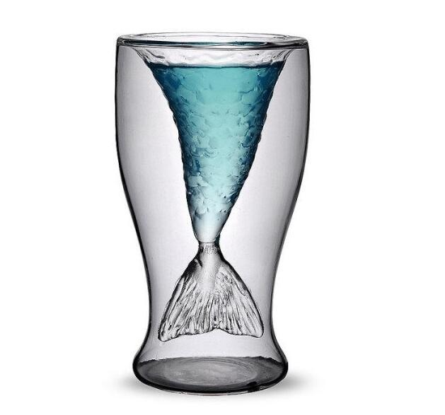 Creative Crystal Mermaid Glass Mug Cup Novelty Vodka Shot Drinking Bar Party Cup Coffee Cup for fast shipping