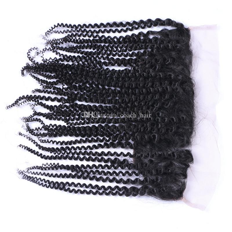 Peruvian Hair Kinky Curly Lace Frontal Closure 13X4 Ear To Ear Human Hair Closure With Baby Hair 130% Density
