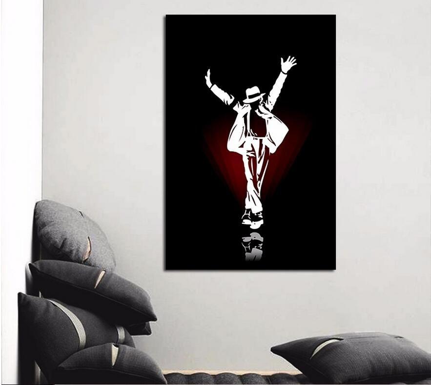 Черный Белый Знаменитая Звезда ПОП Король Майкл Джексон Гостиная украшения плакат холст картины на стене, картины без рамы