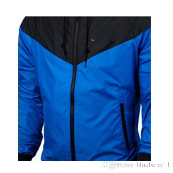 fashion new Blue long sleeve men jacket coat Autumn sports Outdoor windrunner with zipper windcheater men clothing plus size