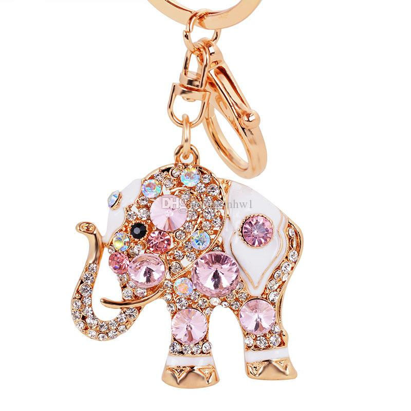 Mode Éléphant Cristal Sac Pendentif Sac À Main Sac Boucle À La Mode Porte-clés Porte-clés Porte-clés Pour La Voiture