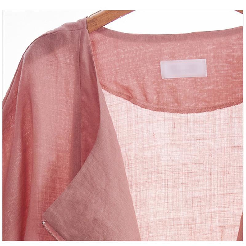 Casual Chaquetas de lino corto 5XL Chaqueta de manga larga para mujer Chaquetas Abrigo Slim Zipper Cardigan Outwears Summer Autumn Coat