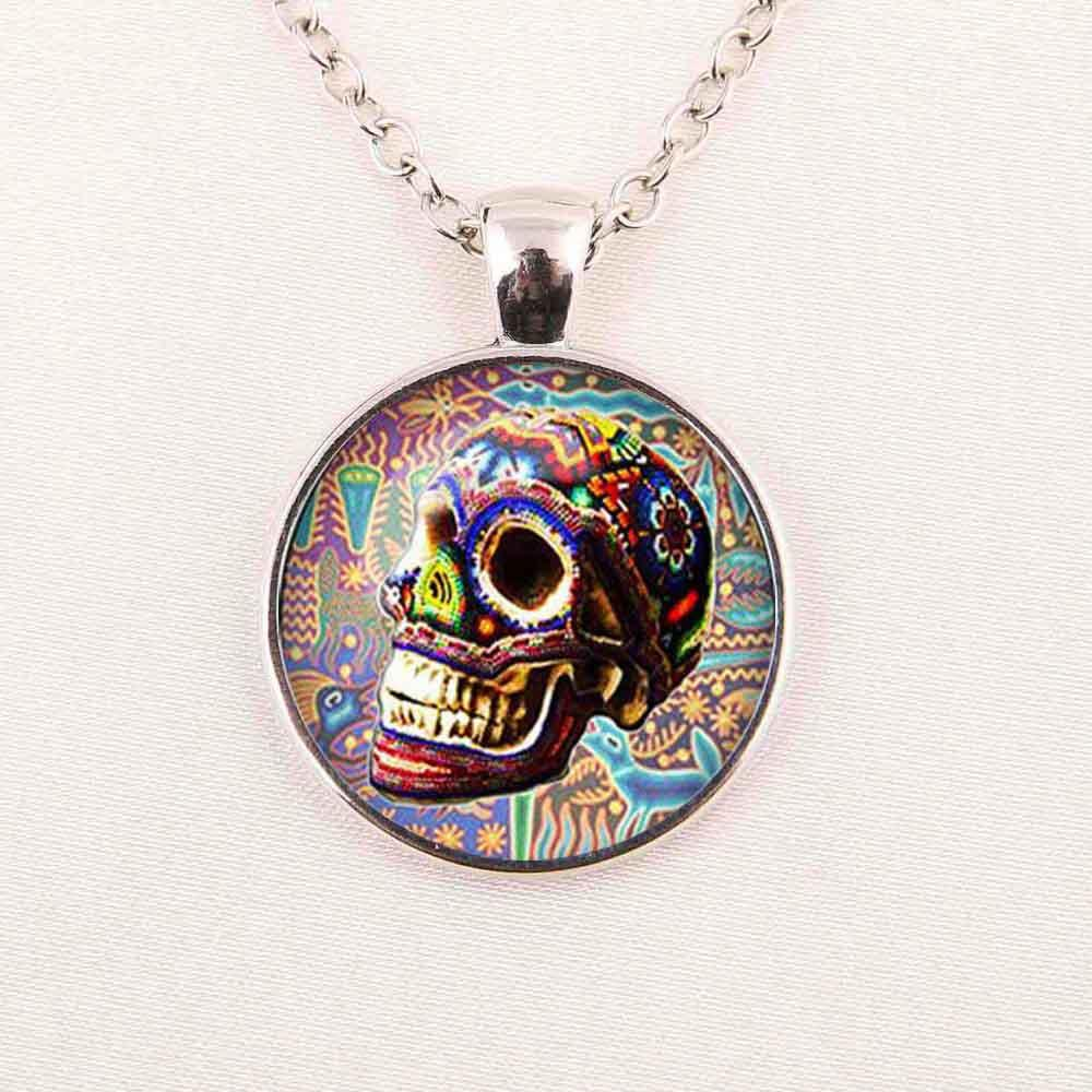 Custom necklacesugar skull silver finish pendant necklacehandmade custom necklacesugar skull silver finish pendant necklacehandmade long necklaceday of the dead jewelry necklace fashion pendant online with 398piece aloadofball Image collections