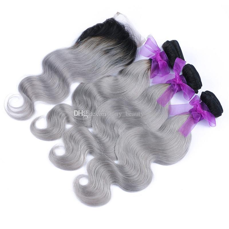 2016 New Fashion 8A 1B/Grey Silver Ombre Peruvian Human Hair Weave 3Bundles With Lace Closure Two Tone Body Wave Ombre Hair Extensions
