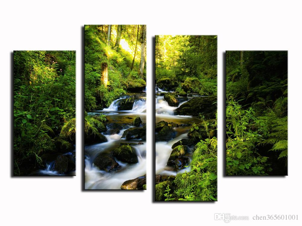 4 panel Big Waterfall With Green Tree Landscape Large HD Picture Modern Home Wall Decor Canvas Print Painting For House Decorate