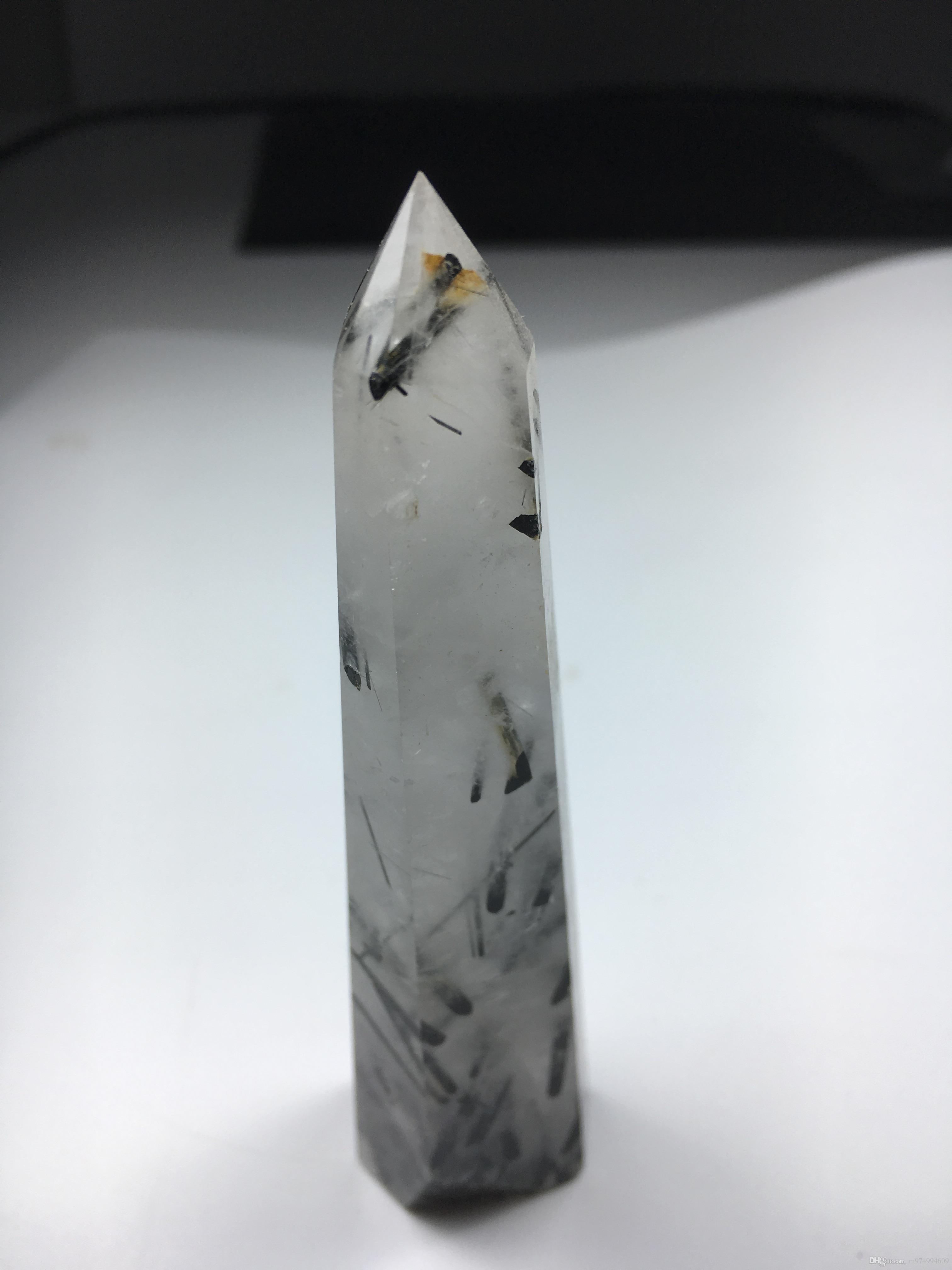 10-11cm / pièce Naturel Tourmaline Noire Pointe De Cristal Baguette Simple Terminée cheveux noirs cristal de quartz Guérison Chakra Guérison Énergie Fengshui