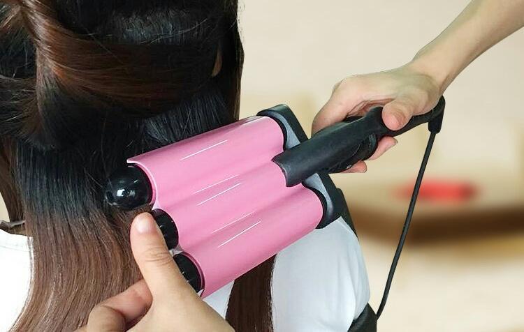Electric hair stick perm hair artifact liquid crystal three tube water wave perm splint
