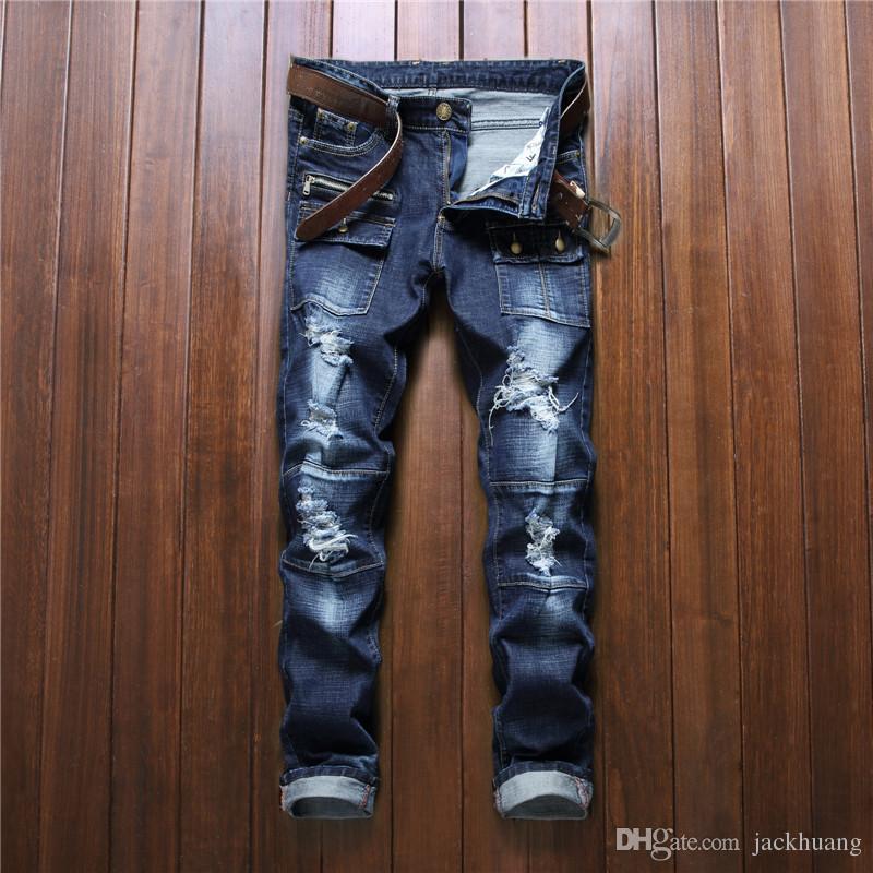 2017 New Designer Mens Biker Jeans Hip Hop Ripped Stitching ...