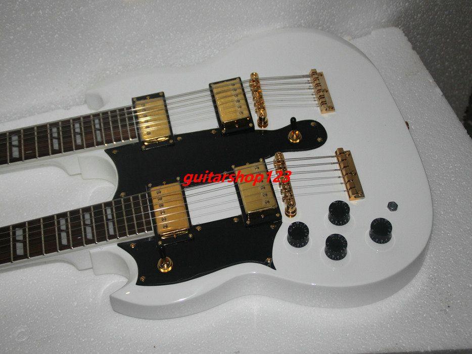 left handed guitars white 1275 custom shop double neck electric guitar 6 12 strings gold. Black Bedroom Furniture Sets. Home Design Ideas