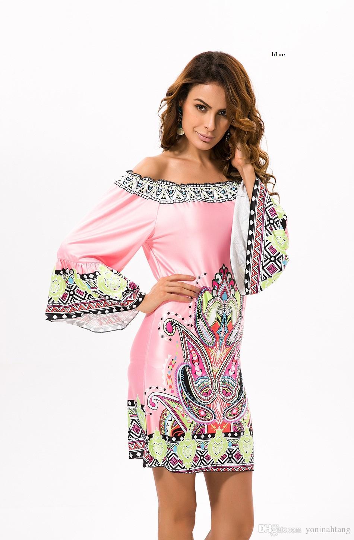 Venta al por mayor envío gratis mujer de colores de impresión fuera del hombro flare manga playa túnicas vestido de la pista para las niñas