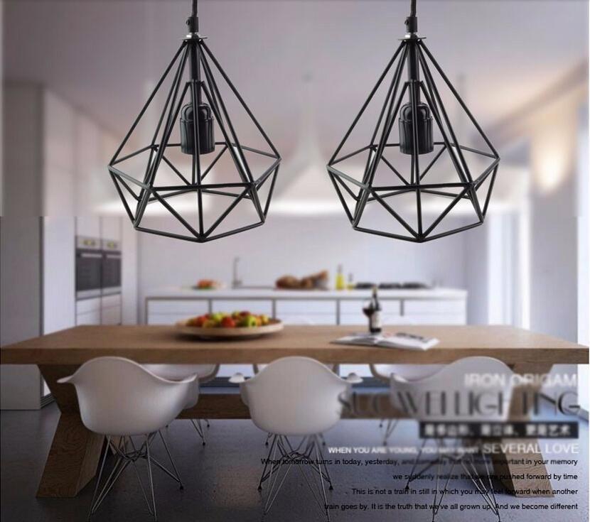 2016 art deco vintage pendant lights led lamp metal cube cage
