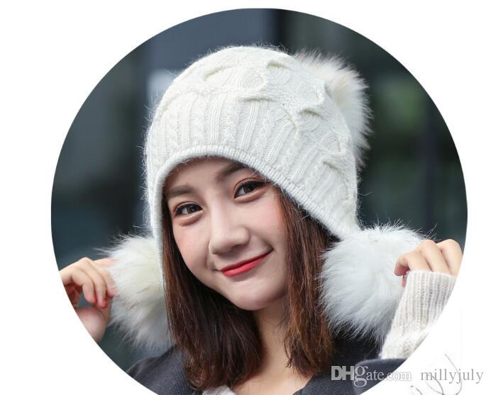 013fd27d836 Fashionable Winter Warm Hats For Woman Knitted Cap Girls Lovely Hat with  Fur Pompons Special Designed Hat Caps Three Big Pompon Whole Sale Big Fur  Pompons ...