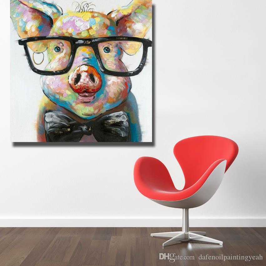 Moderne Toile Art Fabriqué à la Main Cochon avec Lunettes Peinture à L'huile Mur Art Maison Décorative Moderne Salon Mur Photos 1 Peices Pas Encadrée