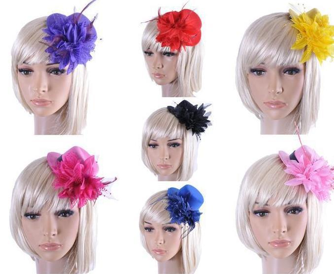 Date femmes mariée fascinator mini chapeau haut de forme de mariage ruban gaze dentelle plume fleur chapeaux pinces à cheveux parti casquettes chapellerie bijoux de cheveux