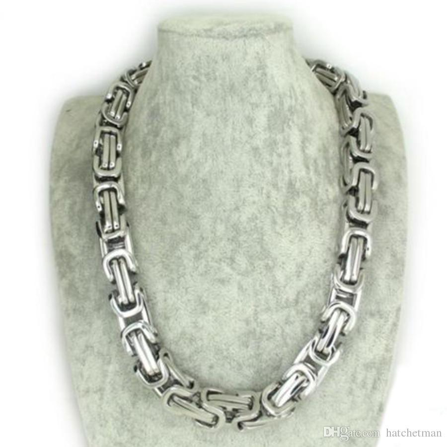Мужская серебряный тон из нержавеющей стали византийский коробка тяжелое ожерелье цепь 12mm24
