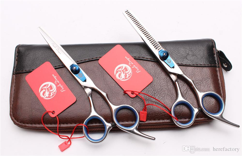 "Z1003 6"" 17.5cm 440C Purple Dragon Professional Human Hair Scissors Barber's Hairdressing Scissors Cutting or Thinning Shear Style Tool"