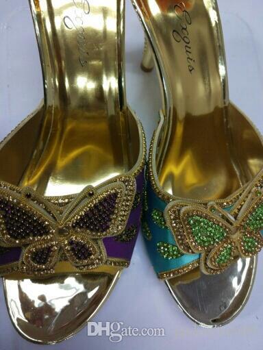 Excelentes conjuntos de festa que combinam sapatos de sandália de salto alto africano e bolsa com pedras 1308-l38 roxo, calcanhar 8.2cm