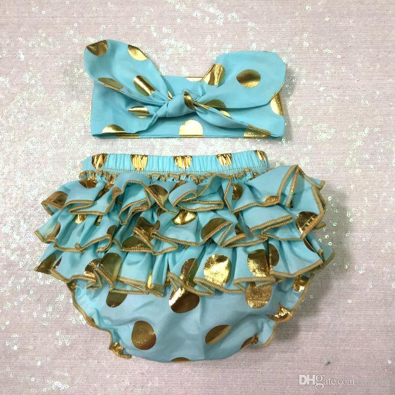 2016 girls gold polka dot shorts baby bloomers + headbands set childrens ruffled shorts kids cotton underwear girls boutique short pants