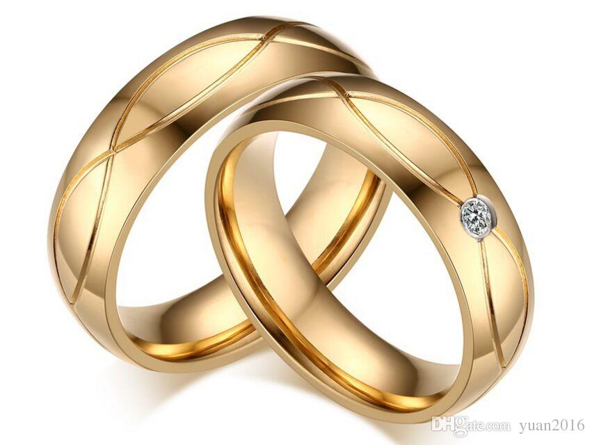 Anillo de bodas Hot 5mm 316L acero inoxidable Bandas de boda Anillos para mujeres Hombres Oro-Color de acero inoxidable Anillo de compromiso