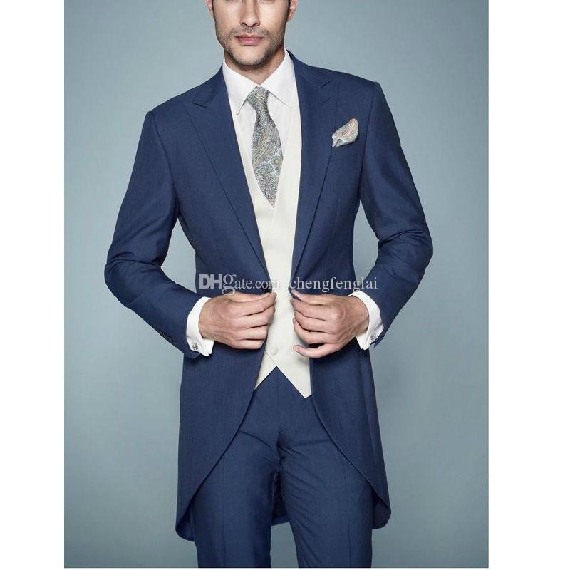 Silm Fit Blue Wedding Suit Tuxedos Groom Tuxedos Business Party ...