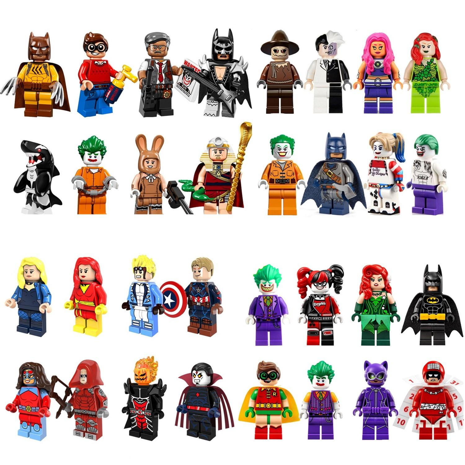 Batting Figures Complete Set Super Heroes Minifig Christmas Clown ...