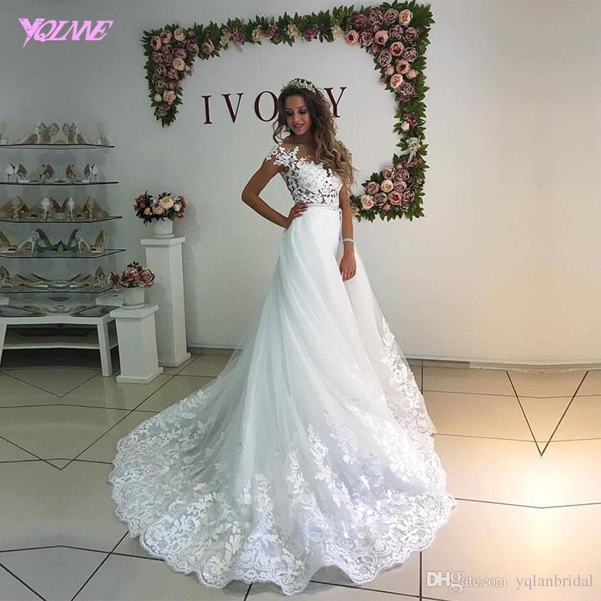 Aline Wedding Gown: Discount Elegant White Aline Wedding Dresses Bridal Gowns