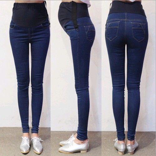 b9d1bc4a0 Compre Primavera Otoño Denim Jeans Maternidad Pantalones Del Vientre Ropa  Para Mujeres Embarazadas Cintura Ajustable Lápiz Embarazo Pantalones  Desgaste A ...