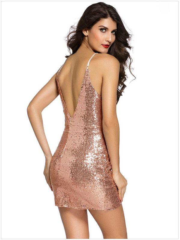 Sparkling sequined short mini club wear cocktail party dresses spaghetti straps zipper v backless vestidos de novia