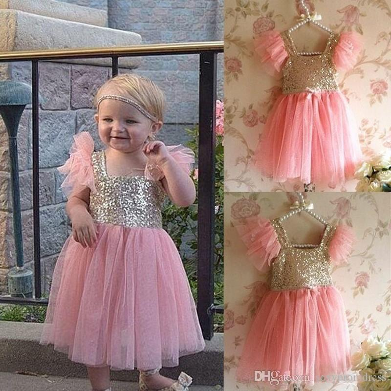 2016 Pink Princess Baby Girls Party Sequins Tutu Gown Fancy Dress Kids Ball Gowns Pageant Dresses Flower Girl Dresses For Wedding