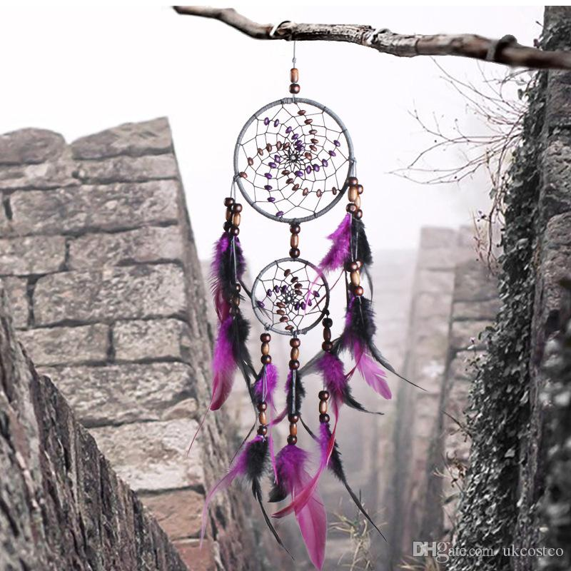 Romantic Purple Dream Catcher Net Con Plumas Colgando Decoración Dreamcatcher Wind Chimes Para Coche Niños Cama Habitación Colgante de Pared D360L