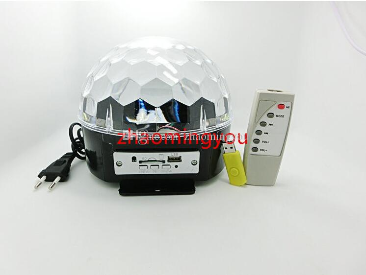 LED RGB Crystal Magic Ball Effect Light,MP3 Music Stage Laser Lighting Lamp with USB Disk and Remote Control Function