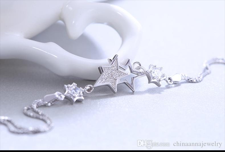 high quality sterling silver star bracelets rhodium plated charm bracelet China silver jewelry factory cheap price wholesale